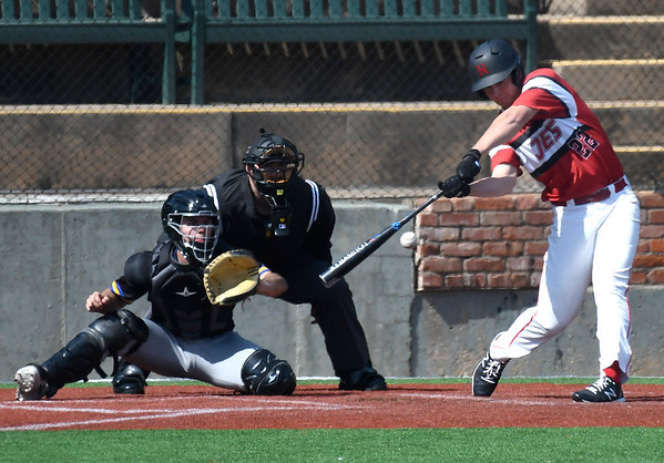 NOC Enid's Cale Savage hits a bloop single into centerfield against NIACC Tuesday, March 10, 2020 at David Allen Memorial Ballpark. (Billy Hefton / Enid News & Eagle)