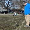 Brian Terrell and James Popham search a lot with their metal detecting Tuesday, March 10, 2020. (Billy Hefton / Enid News & Eagle)