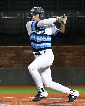 Enid's Will Fleece bats against Bartlesville March 2, 2020 at David Allen Memorial Ballpark. (Billy Hefton / Enid News & Eagle)