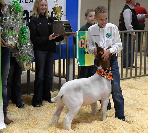 Trenton Morton, of the Newkirk 4-H, shows his grand champion goat during the premium sale at the 86th Annual Northwest District Junior Livestock Show Monday March 9, 2020 at the Chisholm Trail Expo Center. (Billy Hefton / Enid News & Eagle)