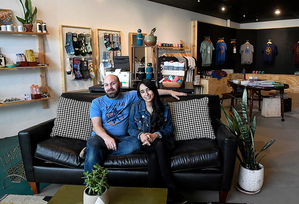 Riley and Stela Jantzen sit the new location of their store Felt Bird Thursday, March 12, 2020. (Billy Hefton / Enid News & Eagle)