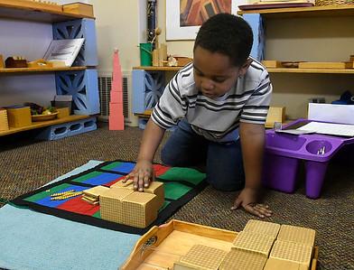 Cimarron Montessori kindergartener, Ryker Treadwell,  works on subtraction Tuesday, March 3, 2020. (Billy Hefton / Enid News & Eagle)