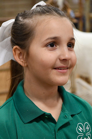 Hadley Estes, from the Garber 4-H, during an interview at the 87th Annual Northwest District Junior Livestock Show Friday, March 5, 2021 at the Chisholm Trail Expo Center. (Billy Hefton / Enid News & Eagle)