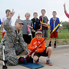 Ryan Petka (front, center) launches his rocket as 2nd Lt. Michael Stockwell (left), students and teacher Lori Painter do a final countdown at Prairieview Elementary School Friday, May 10, 2013. All of the school's 4th-grade students made rockets for the event. (Staff Photo by BONNIE VCULEK)
