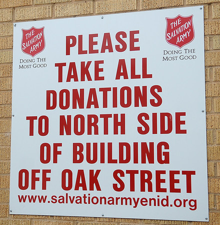 Individuals wishing to make donations of items to be re-sold at The Salvation Army may leave them at the north side of the building off Oak Street. (Staff Photo by BONNIE VCULEK)