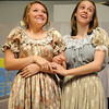 Crystal Sawicki (left) and Addi Shamburg rehearse a scene from Oklahoma Bible Academy's musical, Seven Brides for Seven Brothers, Tuesday, May 7, 2013. The production, under the direction of Linda Zander, runs Friday-Sunday, May 10-12. (Staff Photo by BONNIE VCULEK)