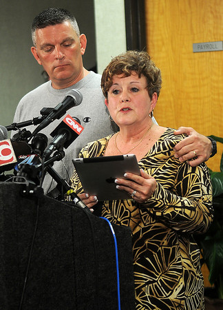 Moore Superintendent of Schools Susan Pierce fights back tears as she reads a prepared statement to the media at the Moore City Hall Tuesday, May 21, 2013. Nine elementary school children perished as an F5 tornado ravaged 30 square miles Monday afternoon. (Staff Photo by BONNIE VCULEK)