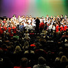 The combines honor groups pefrorms during the Tri-State grand concert Saturday at the Enid High School Auditorium. (Staff Photo by BILLY HEFTON)