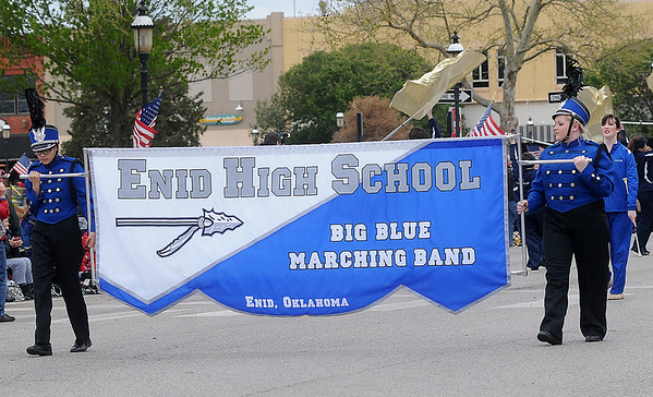 Enid High School Big Blue Marching Band (Staff Photo by BONNIE VCULEK)