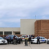 Law enforcement and first responders from across northwest Oklahoma gathered at the Garfield County detention center Monday to kickoff the Click it or Ticket campaign. (Staff Photo by BILLY HEFTON)
