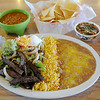 A steak fajitas combo with hot corn tortillas, mild and hot salsa, vegetables, cheese queso, chips, soapillia are several of the favorite menu items at Cafe Garcia. (Staff Photo by BONNIE VCULEK)