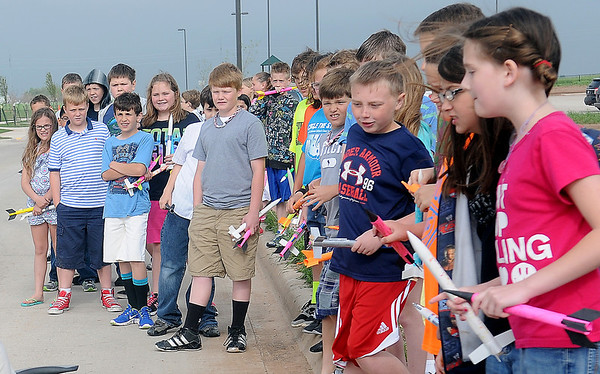 Fourth-grade students eagerly await the launch of their handmade rockets at Prairie View Elementary School Friday, May 10, 2013. (Staff Photo by BONNIE VCULEK)
