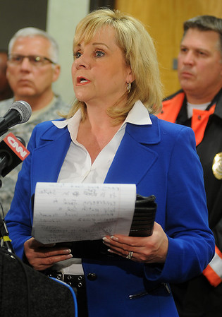 Gov. Mary Fallin addresses the media at Moore City Hall after her tour of the F5 tornado damage Tuesday, May 21, 2013. (Staff Photo by BONNIE VCULEK)