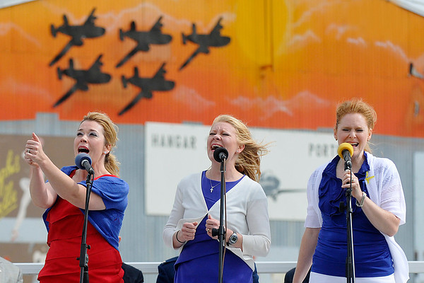 The haynes Sisters perform during Memorial Day ceremonies Monday at the Woodring Wall of Honor during Memorial Day ceremonies. (Staff Photo by BILLY HEFTON)