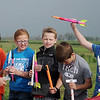 2nd Lt. Cole Evans, with Vance Air Force Base's 71st Sturon, visits with Prairie View Elementary School 4th-grade students during their rocket launching project Friday, May 10, 2013. (Staff Photo by BONNIE VCULEK)