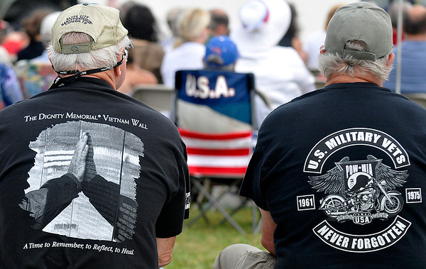 Veterans at the Memorial Day ceremonies at the Woodring Wall of Honor. (Staff Photo by BILLY HEFTON)