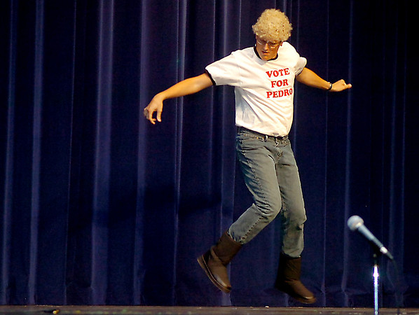 Kirby Scott performs an interpative dance during the senior assembly Wednesday at Enid High School. (Staff Photo by BILLY HEFTON)