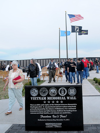 Vietnam Memorial Wall Name Placement Ceremony at Enid Woodring Regional Airport Friday, May 16, 2014. (Staff Photo by BONNIE VCULEK)