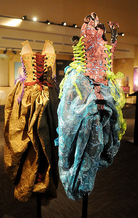 Wearable ceramic corsets, by Nicole Moan, and other traditional styles worn by women are currently on display at the Cherokee Strip Regional Heritage Center. The museum exhibit opened Wednesday, May 28, 2014. (Staff Photo by BONNIE VCULEK)