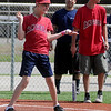 Angels' Conner Ganz reacts as the crowd cheers for him during the Miracle League games at AMBUCS ABC Park Saturday, May 31, 2014. Six teams, with children and adults with special needs, play every Saturday during May and June. (Staff Photo by BONNIE VCULEK)