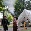 Tennessee Owens performs during the Frontier Festival trick shooting at the Cherokee Strip Regional Heritage Center's Humphrey Heritage Village Saturday, May 17, 2014. (Staff Photo by BONNIE VCULEK)