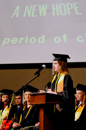 OBA senior, Madeline Earl-Choate, gives a speech during graduation Friday May 27, 2016. (Billy Hefton / Enid News & Eagle)
