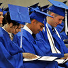 A trio of Enid HIgh seniors all smile as they look at their diplomas during the graduation ceremony Tuesday May 24, 2016 at the Chisholm Trail Expo Center. (Billy Hefton / Enid News & Eagle)