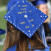 Member of the Enid High School Class of 2017, Teresa Martinez,, wears an inspirational message on her cap prior commencement exercies Thursday May 25, 2017 at D. Bruce Selby Stadium. (Billy Hefton / Enid News & Eagle)