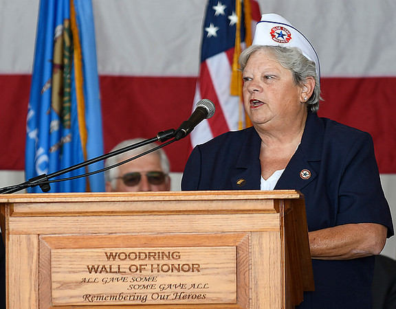 Blue Star Mothers Chapter 11 president, Brenda Bingham, gives a mother's story during Memorial Day ceremonies at the Woodring Wall of Honor Monday May 29, 2017. (Billy Hefton / Enid News & Eagle)
