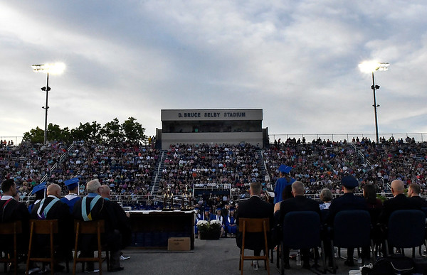 Abby Gwin gives her valedictory address in front of a large audience during commencement exercies Thursday May 25, 2017 at D. Bruce Selby Stadium. (Billy Hefton / Enid News & Eagle)