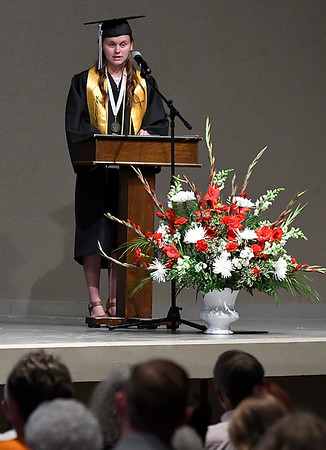 Jessica Johnson gives her valedictorian address during commencement exercises at Oklahoma Bible Academy Friday May 26, 2017. (Billy Hefton / Enid News & Eagle)