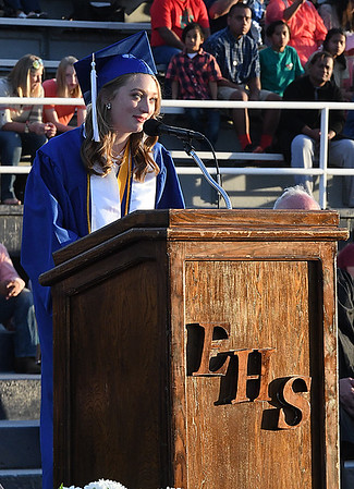 Abby Gwin gives her valedictory address during commencement exercies Thursday May 25, 2017 at D. Bruce Selby Stadium. (Billy Hefton / Enid News & Eagle)