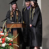 Riley Betz, Douglas Regier and Lauren Anderson do the class reading during commencement exercises at Oklahoma Bible Academy Friday May 26, 2017. (Billy Hefton / Enid News & Eagle)