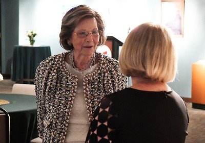Myra Ward visits with Mary Stallings during a reception at the Cherokee Strip Regional Heritage Center Thursday May 10, 2018 honoring donors to the endowment campaign. (Billy Hefton / Enid News & Eagle)