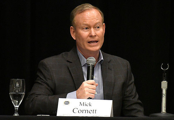 Mick Cornett answers a question during the Oklahoma Academy's Northwest Region Gubernatorial Issues Forum Tuesday May 29, 2018 at the Central National Bank Center. (Billy Hefton / Enid News & Eagle)
