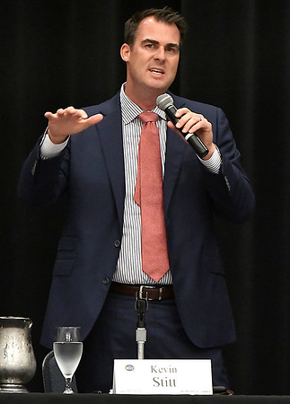 Kevin Stitt answers a question during the Oklahoma Academy's Northwest Region Gubernatorial Issues Forum Tuesday May 29, 2018 at the Central National Bank Center. (Billy Hefton / Enid News & Eagle)