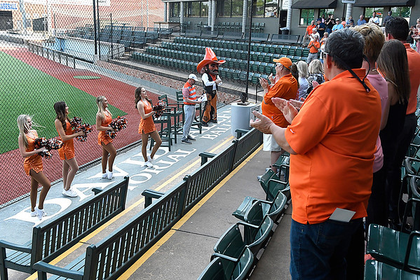 Oklahoma State spirit squad members and mascot, Pistol Pete, lead fans in the fight song during the Cowboy Caravan stop at David Allen Memorial Ballpark Monday May 14, 2018. (Billy Hefton / Enid News & Eagle)
