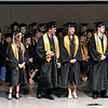 Oklahoma Bible Academy seniors that earned valedictorian hornors, Jared Goldman, Ashlyn Beagley, William Price, Sarah Reilly, Traber Smithson and  Aidin Tucker recieve their medals during commencement exercises Friday May 24, 2019. (Billy Hefton / Enid News & Eagle)