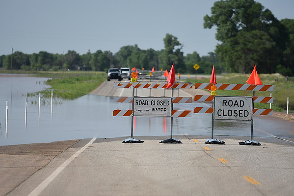 U.S. 81 remained closed Wednesday afternoon May 22, 2019 between Medford and Pond Creek due to high water. (Billy Hefton / Enid News & Eagle)