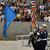 Enid High School ROTC color guard presents the colors during commencement exercises Thursday May 23, 2019 at the Chisholm Trail Expo Center. (Billy Hefton / Enid News & Eagle)