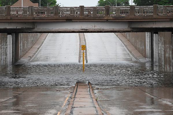 The underpass on north Grand was closed due to high water Monday May 20, 2019. (Billy Hefton / Enid News & Eagle)