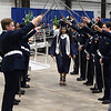 members of the Enid High School ROTC give a sabre salute to graduating menbers during commencement exercises Thursday May 23, 2019 at the Chisholm Trail Expo Center. (Billy Hefton / Enid News & Eagle)