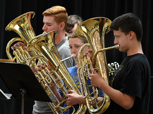 Members of the Drummond High School pep band perform during the Tri-State Music Festival Wednesday May 1, 2019 at the NOC Gantz Center. (Billy Hefton / Enid News & Eagle)