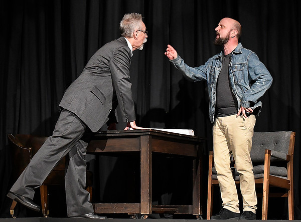 """Jason Maly and Frank Baker rehearse a scene from the Gaslight Theater production of """"The Normal Heart"""" Wednesday May 8, 2019. (Billy Hefton / Enid News & Eagle)"""