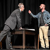 "Jason Maly and Frank Baker rehearse a scene from the Gaslight Theater production of ""The Normal Heart"" Wednesday May 8, 2019. (Billy Hefton / Enid News & Eagle)"