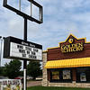 The Golden Chick restaurant in Hennessey shows a sense of humor about some storm damage Saturday May 25, 2019. (Billy Hefton / Enid News & Eagle)