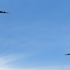 A pair of C-17 Globemaster IIIs fly over downtown Enid Friday, May 1, 2020 honoring essential personnel supporting the COVID-19 effort. (Billy Hefton / Enid News & Eagle)
