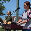 Kaitlyn Hammand (left) and Shannen Nance perform during the National Day of Prayer event at the Garfield County Courthouse gazebo Thursday, May 6, 2021. (Billy Hefton / Enid News & Eagle)