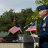 Col. Jay Johnson, Commander 71st FTW at Vance Air Force Base, addresses the audience during the Veterans Memorial Bridge Dedication Friday, May 28, 2021 at AMBUCS Park. (Billy Hefton / Enid News & Eagle)