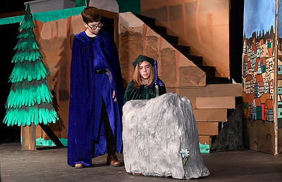 """Cooper McKee and Asher Young rehearse a scene in the Gaslight Teen production of """"Excalibur"""" at the Gaslight Theater Wednesday, January 20, 2020. (Billy Hefton / Enid News & Eagle)"""